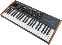 Dave Smith Instruments – Mopho X4 Polyphonic Analog Keyboard Synthesizer  Based on the hugely successful Mopho monophonic analogue synth, the Mopho x4 takes the original model and adds four voice polyphony to allow you to create immense unison basses, smooth leads and percussive sequences, with the possibility of pads now being added to the mix.