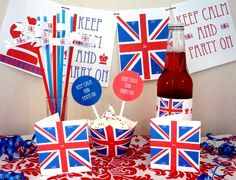 Union Jack Party Printables and Orderable Items, Customized too!