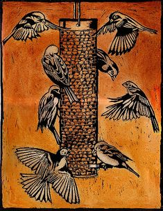 """Sparrow Feeder"" - Ian MacCulloch Illustration and Printmaking"