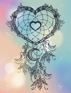 Image result for heart dreamcatcher drawings