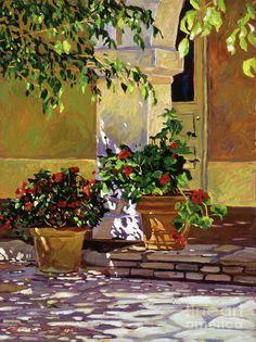 Bel-air Patio Steps Painting  - Bel-air Patio Steps Fine Art Print