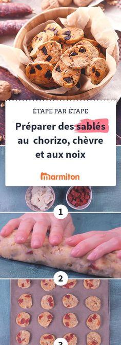 Des petits sablés au chorizo, au chèvre et aux noix pour l'apéro #recettemarmiton #recettepasapas #pasapas #marmiton #recette #cuisine #sables #chorizo #chevre #noix #apero