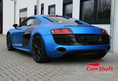 Audi R8 V10 in blue metallic matte looks good with black rims