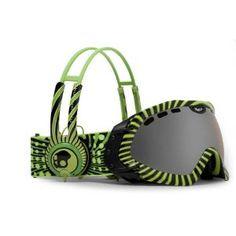 Dragon Alliance Mace SkullCandy Goggle Co-Op w/Headphones, Skull Candy 4 Green, Ionized $120