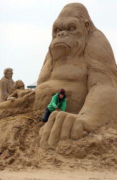 Sculpture sur sable King Kong
