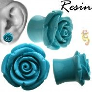 Wholesale Body Jewelry Turquoise Resin Hybrid Tea Rose Body Jewelry (Sold By Pair) PR2-T