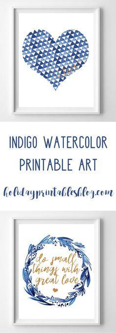 Indigo | Indigo Printable Art | Watercolor Printable Art | Blue | Valentine's Day Free Printables | Copper | Mother Teresa Quote | Wreath