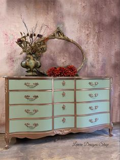 Painted Furniture For Sale, Metallic Painted Furniture, Antique Furniture For Sale, Dresser Furniture, Bohemian Furniture, Green Furniture, Furniture Makeover, Refurbished Furniture, Classic Furniture