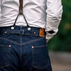 Jeans with braces Raw Denim, Denim Men, Vintage Jeans, Vintage Outfits, Vintage Coat, Leather Suspenders, Rockabilly, Suspender Pants, Denim Shirt With Jeans
