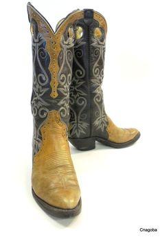 Vintage FANCY Boots Western Cowboy Boots Tall Hand Made Brown Tan #LaramieHandmade #Boots