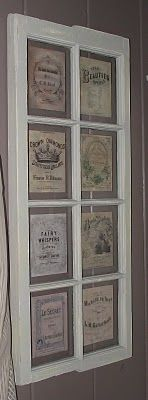 Vintage labels in a repurposed window frame. What's not to love? Making one of these this weekend!!