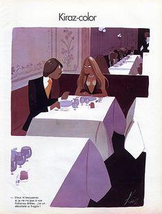 Edmond Kiraz 1974 Les Parisiennes, Kiraz-color. 'Vous m'excuserez si je ne ris pas à vos histoires drôles; j'ai un décolleté si fragile !'