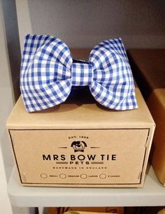 Blue Gingham Dog Collar Bow Tie