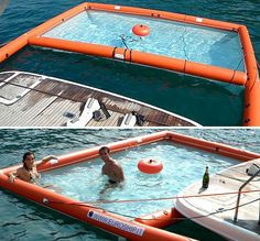 magicswim - an inflatable pool for boating. Tiny holes in the bottom so lake/oceab water fills the pool without the fish and stuff. If I ever have a boat, I'm getting this lol Structures Gonflables, My Pool, Camping, Cool Inventions, Lake Life, Outdoor Fun, Cool Gadgets, The Great Outdoors, Summer Fun
