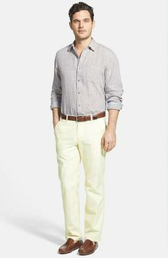 Weekend brunch wear - Chambray port shirt paired with chinos and loafers.