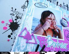 Page, Boutique française Graffiti Girl, papier effet bois, Badges, Tampons transparents, Encre noire, Stickers, Urban Scrap, Dies, Bonheur, Vacances, Triangles, Pochoir, Taches, Gris, Rose, Rondeur numérique, Girly, Créa, Petit Mec, Flèches, Napperon.