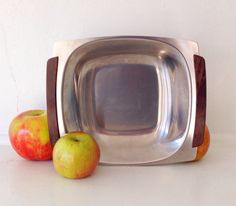 1960s Mid Century Selandia Denmark Stainless Steel Serving Tray with teak wood handles.