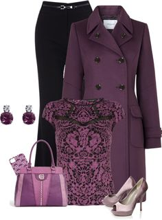 A fashion look from February 2013 featuring cap sleeve t shirt, long purple coat and workwear trousers. Browse and shop related looks. Purple Outfits, Pretty Outfits, Cute Outfits, Night Outfits, Velvet Fashion, Purple Fashion, Purple Jacket, Polyvore Outfits, Daily Fashion