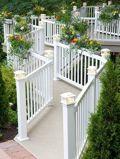 Add Lights to Railings Make decorative post caps work twice as hard. Not only do these post caps add style to the deck, but they also house low-voltage outdoor lights to guide users at night.