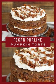 Pecan Praline Pumpkin Torte ~ Two of the season's most beloved flavors are combined in one delicious cake! It's simple to assemble and makes a great alternative to pumpkin pie for Thanksgiving Day dessert. ** CLICK PIN TO LEARN MORE! Thanksgiving Desserts, Fall Desserts, Just Desserts, Dessert Recipes, Recipes Dinner, Soup Recipes, Chicken Recipes, Healthy Recipes, Recipes