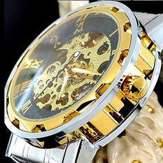 relógio dos homens de aço inoxidável esqueleto de ouro mecânica – BRL R$ 76,92
