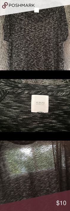 """👌🏻 Alfani Intimates Marled Top Size XXL (size tag missing).  Alfani Intimates marled black and gray, slouchy off-shoulder fit.  This was purchased in the loungewear dept., hence the """"Intimates"""" on the label.  Can be worn as a pajama top or over a cami during the day.  Last photo is held up in front of the window to show sheerness.  Tags were cut, but item never worn. Alfani Tops"""