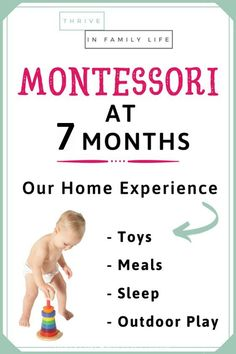 Our home experience of Montessori at home with a 6 month old. Toys we use with our 6 month old, weaning table with 6 month old, and what our Montessori play area looks like at this stage. Sharing a real life perspective on Montessori baby life at home. 7 Month Old Toys, 7 Month Old Baby Food, Baby Month By Month, 7 Month Old Baby Activities, Infant Activities, Montessori Baby Toys, Montessori Activities, Montessori Education, Classroom Activities