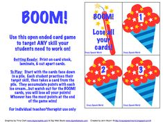 Free open ended card game-Free download! Repinned by  SOS Inc. Resources.  Follow all our boards at http://pinterest.com/sostherapy  for therapy resources.
