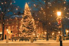 This is my downtown in my hometown, Newburyport, MA, all lit up for Christmas