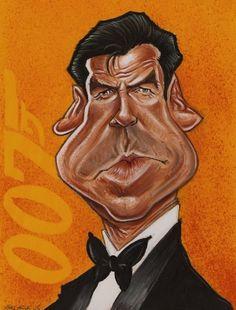 Studio Caricature of Pierce Brosnan
