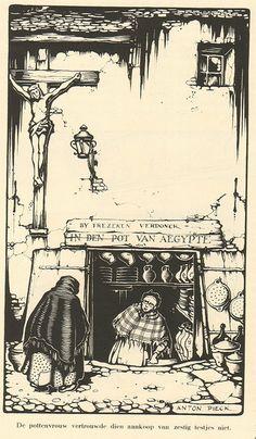 Anton Pieck in de pottenwinkel 1937