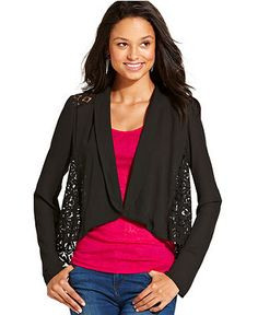 Eyeshadow Juniors Jacket, Lace Asymmetrical High-Low Blazer - Juniors Jackets & Vests - Macy's Vest Jacket, Style Guides, Vests, High Low, Blazers, Cute Outfits, Eyeshadow, Lace, Blazer