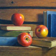 Apples with Antique Books by Michael Naples  #MichaelNaples