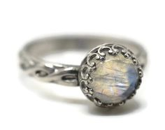 Celtic Moonstone Ring Rainbow Moonstone Engagement by fifthheaven.. (absolutely stunning!!!)