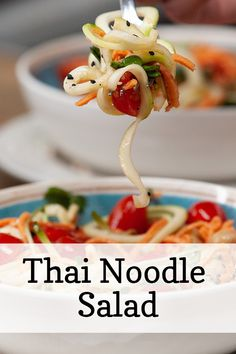 This Thai Veggie Noodle Salad is so easy and so delicious. Raw, vegan and gluten-free, you won't feel guilty going back for seconds (or maybe even thirds). Low Carb Recipes, Cooking Recipes, Healthy Recipes, Healthy Eats, Healthy Snacks, I Love Food, Good Food, Yummy Food, Veggie Noodles