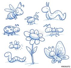 Vektor: Set of cute little cartoon insects and small animals: Bugs, bee, worm, caterpillar, butterfly, ant and flower. For children or baby shower cards. Hand drawn vector illustration.