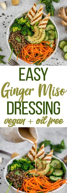 How To Make an Easy Ginger Miso Dressing | Only 6-Ingredients + Soy & Oil-Free! sweetsimplevegan.com