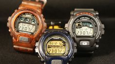 Left to right: DW-069 China, DW-002 mod 6900 Japan M, DW-002 mod 6900 Japan C Fox Fire