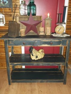 Primitive Rustic Table. I can't say enough how much I LOOOOOOVE this!