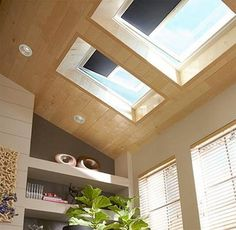 """Skylights with retractable """"blackout"""" blinds"""