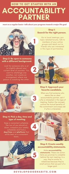 Check out this guide on how to find an accountability partner to help you achieve your goals. #infographic #planning #tips #entrepreneurs #business #healthyliving #success #success #team #selfimprovement