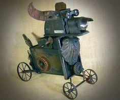 VOKAR  Steampunk Robot Dog  assemblage sculpture  by reclaim2fame, $495.00