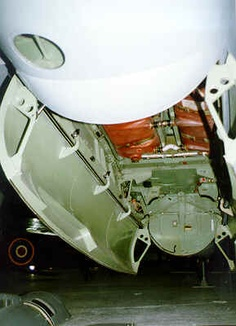 The de Havilland Mosquito bomb bay of this variant was bulged, like on the Mk. XVI, allowing even a 4000lb bomb to be carried. Brown objects visible inside are fuselage fuel tanks.