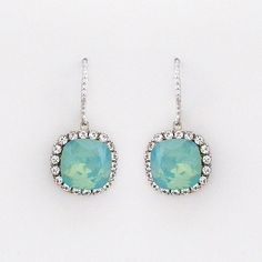 Pacific Opal Cushion Cut Crystal Earrings