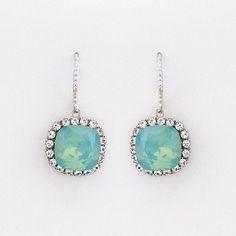 Pacific Opal Cushion Cut Crystal Earrings