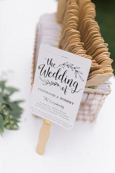 Wedding ceremony program idea - white + black ceremony programs served as fans for outdoor ceremony {Rockhill Studio}