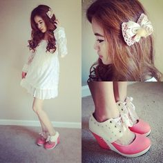 Lace Dress, Bow Clip, Scent Of Love Wedge