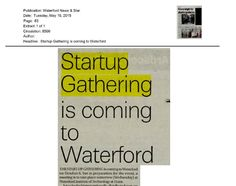 """Waterford: Waterford News& Star- """"Startup Gathering is coming to Waterford"""""""