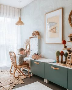 Playroom perfection featuring our rattan pendant lamp and Mini Rattan lounge chair I wish my playro. Play Spaces, Kid Spaces, Scandinavian Interior Bedroom, Billy Ikea, Nursery Decor, Room Decor, Toddler Playroom, Baby Room Design, Big Girl Rooms