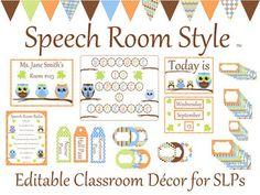 Speech Room Style - Editable Decor for SLPs (Owl Theme)
